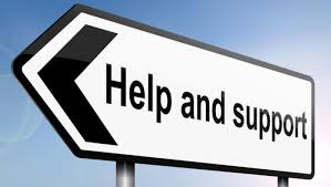 Road sign for help and support